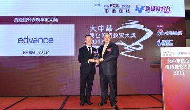 安領國際力奪《大中華民企價值投資大獎》之「資產提升表現年度大獎」